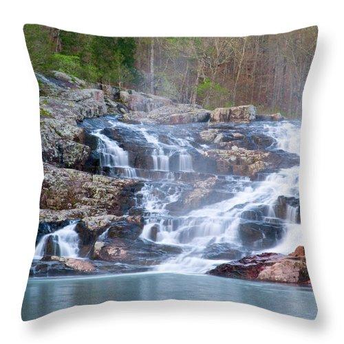 Missouri Throw Pillow featuring the photograph Rocky Falls by Steve Stuller