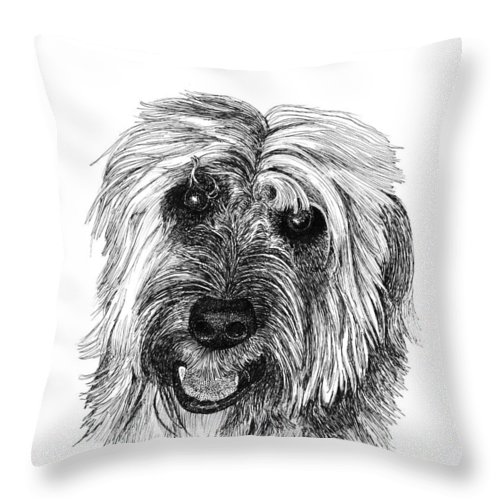 Pen And Ink Art Of Rocky Whose Owner Throw Pillow featuring the drawing Rocky by Jack Pumphrey