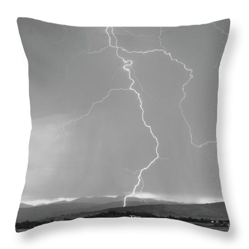 July Throw Pillow featuring the photograph Rocky Mountain Front Range Foothills Lightning Strikes 1 Bw by James BO Insogna
