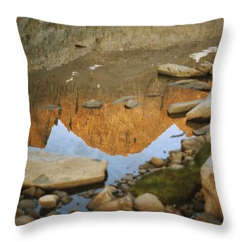 Color Image Throw Pillow featuring the photograph Rocky Mountain Peaks Are Reflected by Gordon Wiltsie