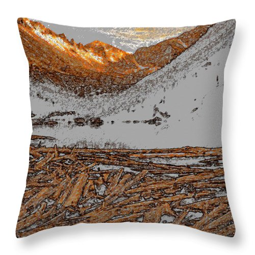 Art Throw Pillow featuring the painting Rocky Mountain Winter by David Lee Thompson