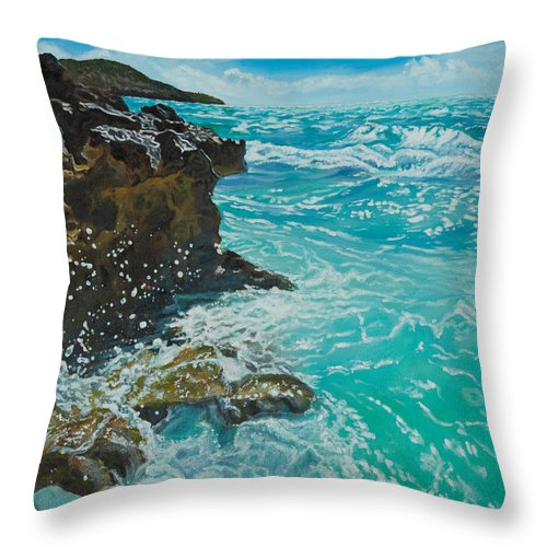 Crashing Waves Throw Pillow featuring the painting Rocky Shores by Liz Zahara