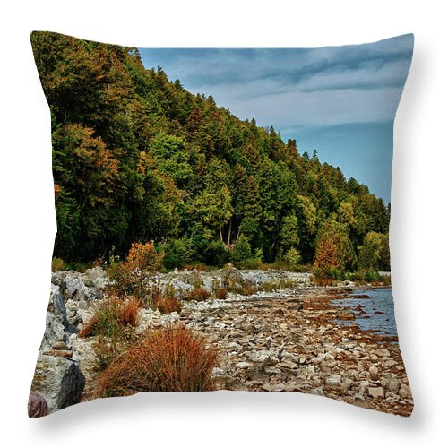 Mackinac Island Throw Pillow featuring the photograph Rocky Shores by Rachel Cohen