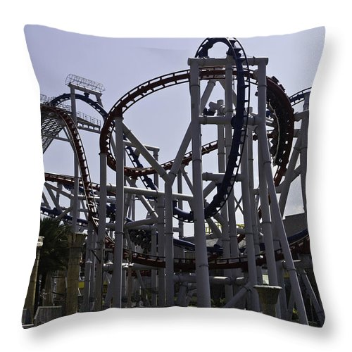 Asia Throw Pillow featuring the photograph Roller Coaster Rides Inside The Universal Studio Park In Sentosa by Ashish Agarwal
