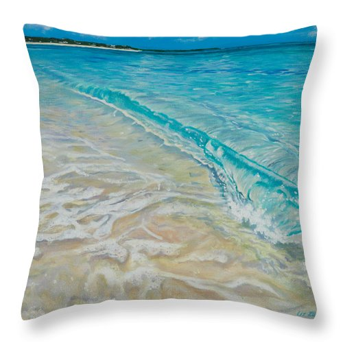 Beach Throw Pillow featuring the painting Rolling Wave by Liz Zahara