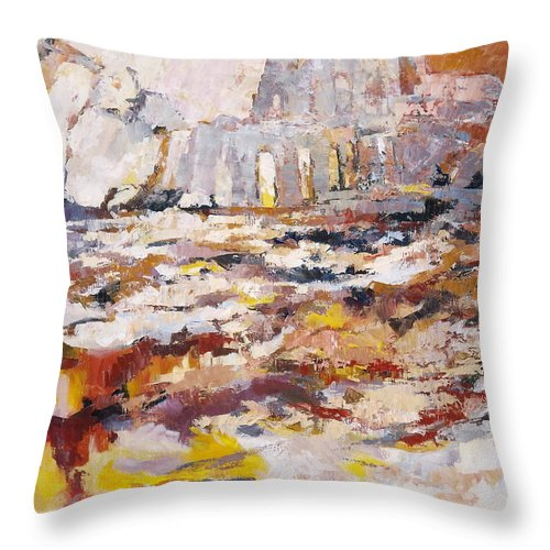 Roman Throw Pillow featuring the painting Roman Relicts Abstract 4 by Ekaterina Mortensen