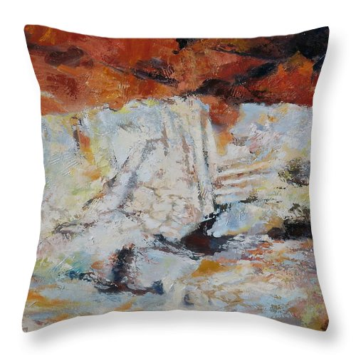 Roman Throw Pillow featuring the painting Roman Relicts Abstract 5 by Ekaterina Mortensen