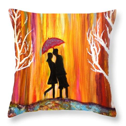 Romance Romantic Love Valentine Rain Trees Umbrella Red Blue Orange Yellow Yupo Paper Figures Anniversary Colorful White Black Throw Pillow featuring the photograph Romance in the rain II by Manjiri Kanvinde