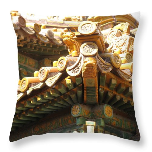 Forbidden City Throw Pillow featuring the photograph Roof Of Forbidden City by Alfred Ng