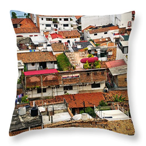Puerto Vallarta Throw Pillow featuring the photograph Rooftops In Puerto Vallarta Mexico by Elena Elisseeva