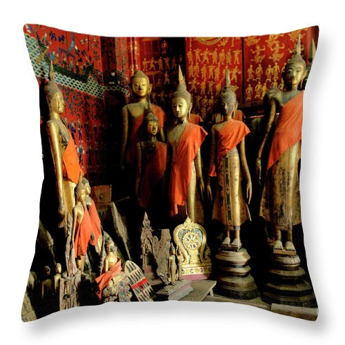 Monks Throw Pillow featuring the photograph Room Of Buddhas by Bob Christopher