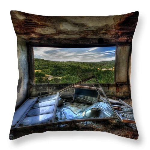 Abandoned Throw Pillow featuring the photograph Room With A View by Evelina Kremsdorf