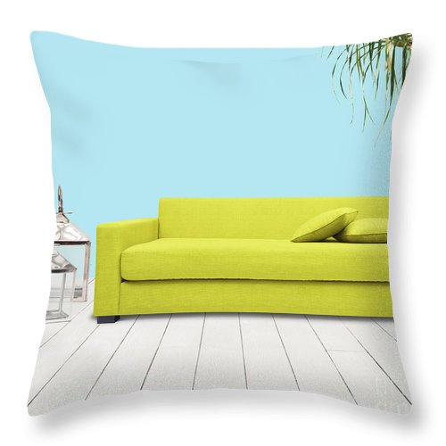 Apartment Throw Pillow featuring the mixed media Room With Green Sofa by Atiketta Sangasaeng