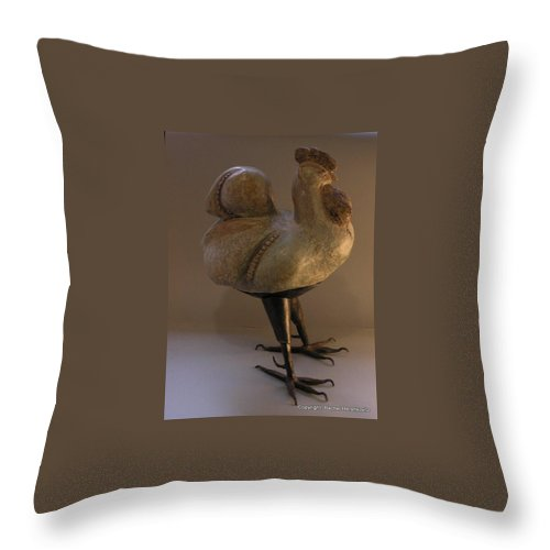 Rooster Throw Pillow featuring the sculpture Rooster 2 Bronze Legs And Ceramics Body Sculpture by Rachel Hershkovitz