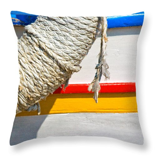 Abstract Throw Pillow featuring the photograph Rope And Boat Detail by Silvia Ganora