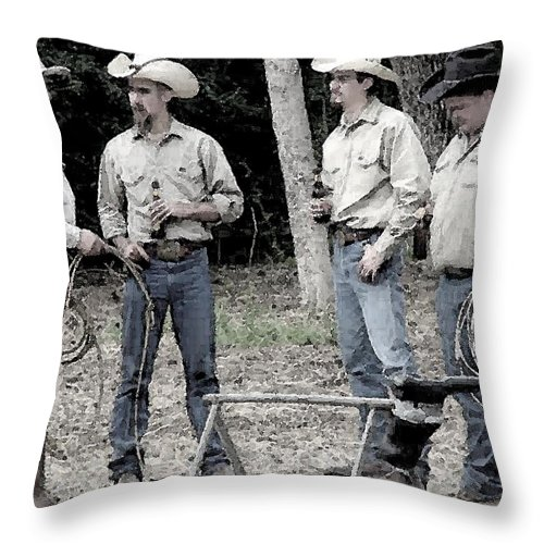 Cowboys Throw Pillow featuring the photograph Ropers by Nina Fosdick