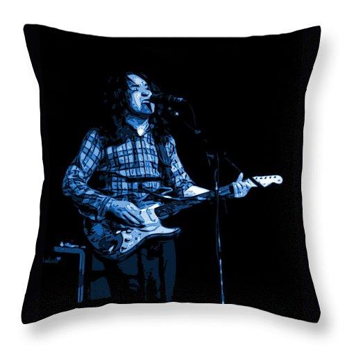 Rock Musicians Throw Pillow featuring the photograph R G Art Blue by Ben Upham
