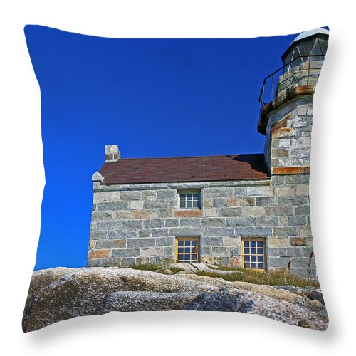 Lighthouse Throw Pillow featuring the photograph Rose Blanche Lighthouse by Gord Patterson