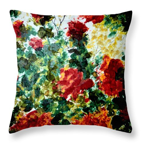 Roses Throw Pillow featuring the painting Rose Garden by Susan Kubes