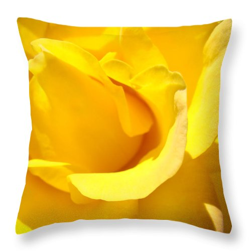 Rose Throw Pillow featuring the photograph Rose Petal Flower Yellow Colorful Rose Floral Baslee by Baslee Troutman