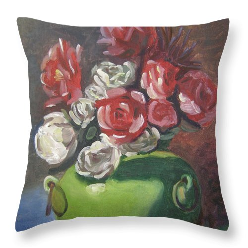 Floral Throw Pillow featuring the painting Roses And Green Vase by Lilibeth Andre