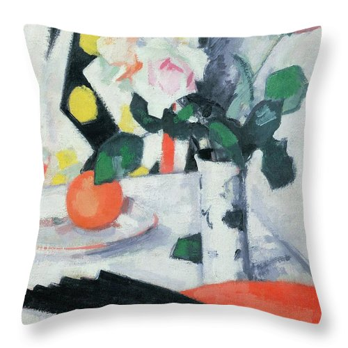 Still Throw Pillow featuring the painting Roses In A Chinese Vase With Black Fan by Samuel John Peploe