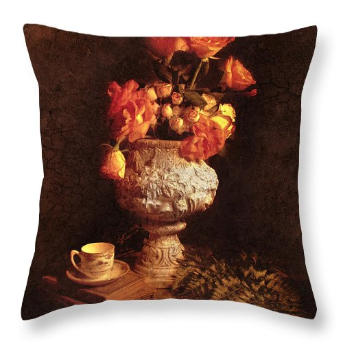 Roses Throw Pillow featuring the photograph Roses In Urn by Jill Battaglia