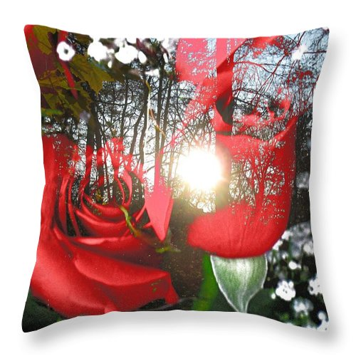 Roses Throw Pillow featuring the digital art Rosesredred by Anastasia Pellerin