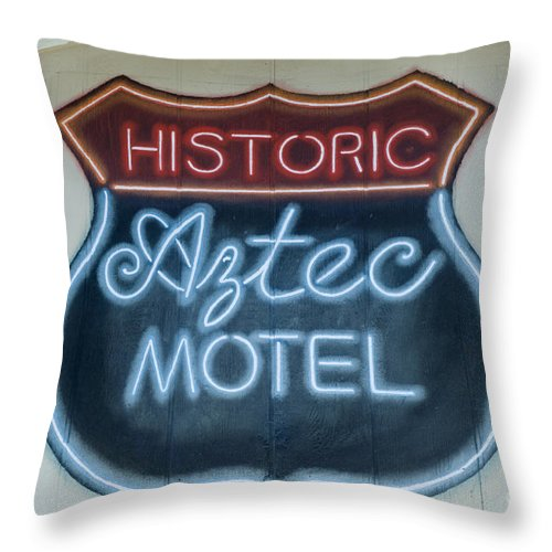 Wurlitzer Throw Pillow featuring the photograph Route 66 Aztec Hotel Mural by Bob Christopher