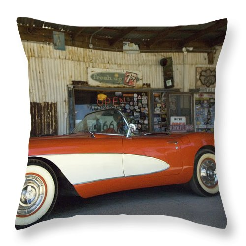 Flames Throw Pillow featuring the photograph Route 66 Corvette by Bob Christopher