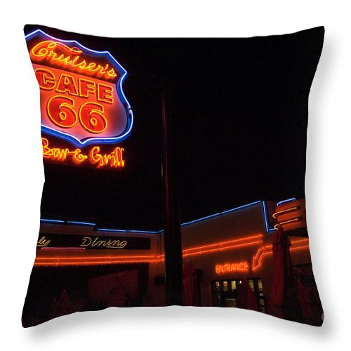 Flames Throw Pillow featuring the photograph Route 66 Cruisers by Bob Christopher
