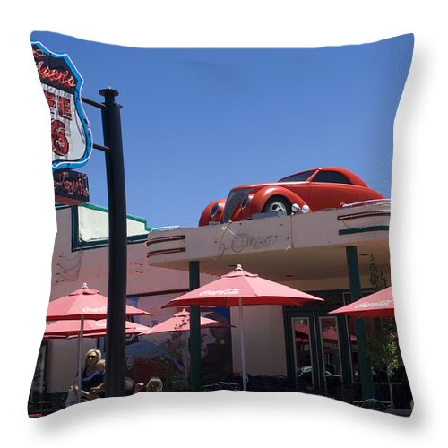 Wurlitzer Throw Pillow featuring the photograph Route 66 Cruisers Williams Arizona by Bob Christopher