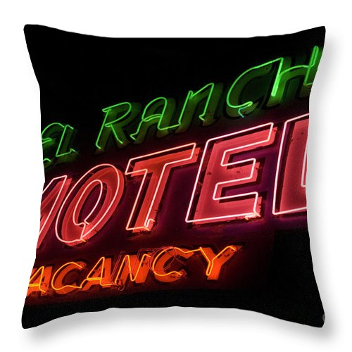 Flames Throw Pillow featuring the photograph Route 66 El Rancho by Bob Christopher