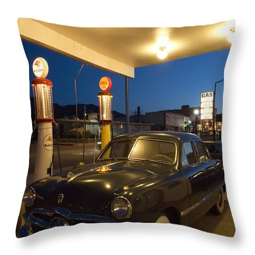 Classic Car Throw Pillow featuring the photograph Route 66 Garage Scene by Bob Christopher