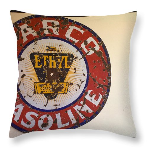 Route 66 Throw Pillow featuring the photograph Route 66 Gasoline Sign by Bob Christopher