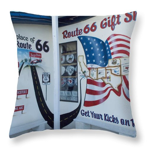 Classic Car Throw Pillow featuring the photograph Route 66 Gift Shop by Bob Christopher