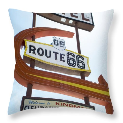 Flames Throw Pillow featuring the photograph Route 66 Motel Sign 1 by Bob Christopher