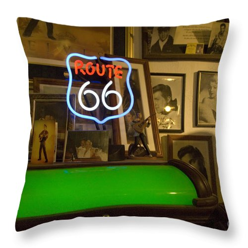 Flames Throw Pillow featuring the photograph Route 66 Neon Sign 1 by Bob Christopher
