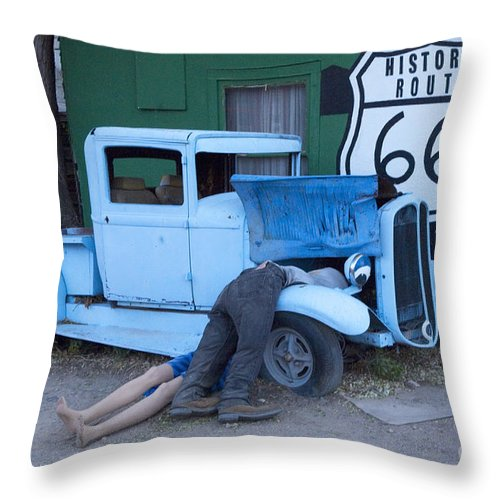 Classic Car Throw Pillow featuring the photograph Route 66 Repair Shop by Bob Christopher