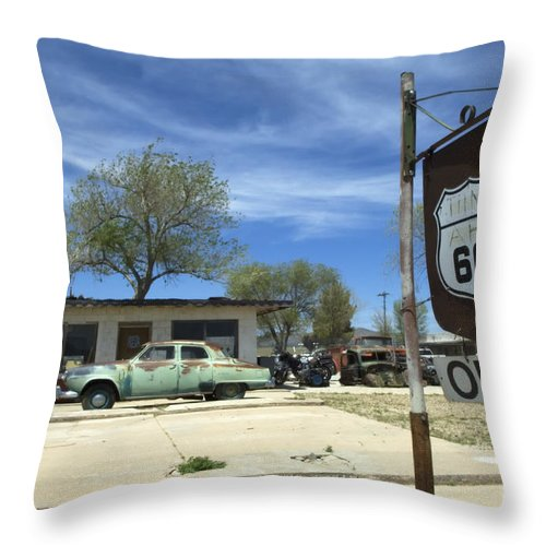 Flames Throw Pillow featuring the photograph Route 66 Still Open by Bob Christopher