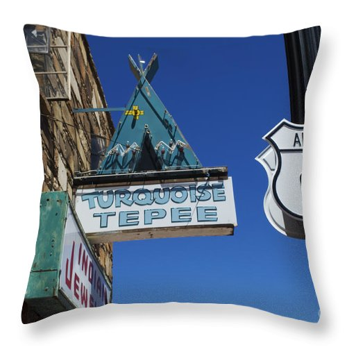 Wurlitzer Throw Pillow featuring the photograph Route 66 Turquoise Tepee by Bob Christopher