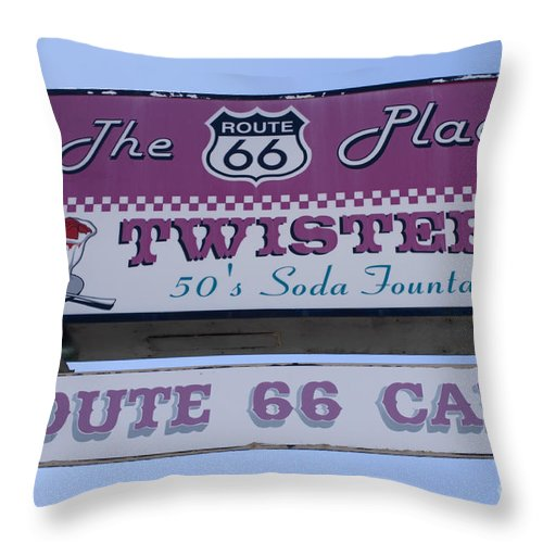 Wurlitzer Throw Pillow featuring the photograph Route 66 Twisters Sign by Bob Christopher