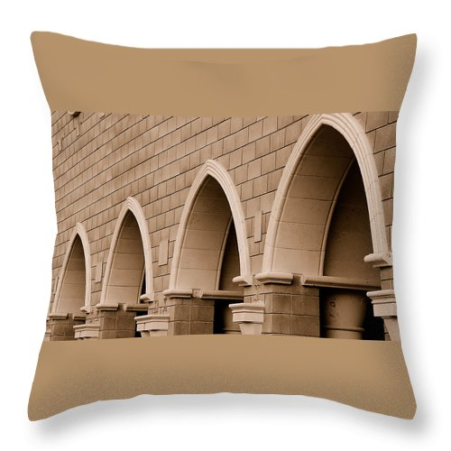 Row Arch Arches Archway Bricks Stone Tiles Monastery Vina Ca Throw Pillow featuring the photograph Row Of Arches by Holly Blunkall