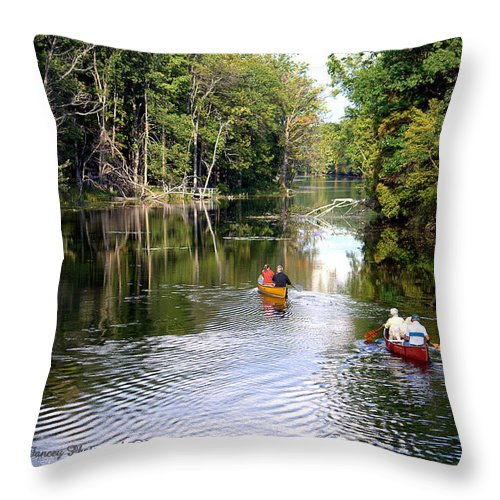 Photography Throw Pillow featuring the photograph Rowing Down The River by Jale Fancey
