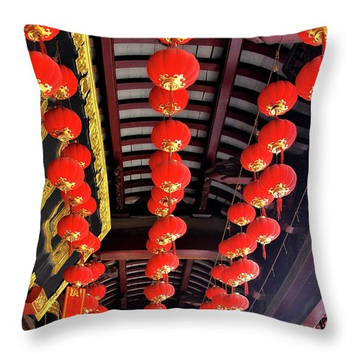 Lampions Throw Pillow featuring the photograph Rows Of Red Chinese Paper Lanterns - Shanghai China by Christine Till