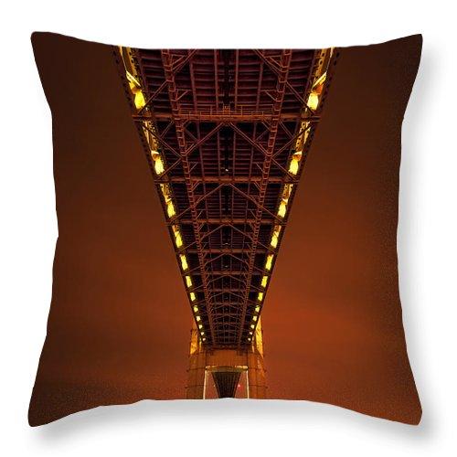Verrazano Throw Pillow featuring the photograph Run Through The Night by Evelina Kremsdorf