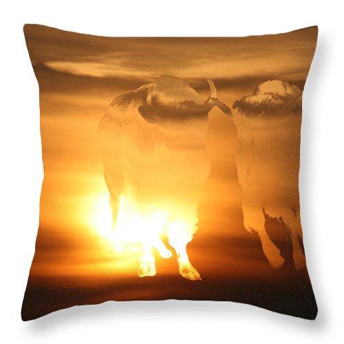 Sunset Native Aboriginal Artwork Buffalo Colourful Abstract Sunrise Sky Scenery Golden Brown Yellow Saskatchewan Artist Throw Pillow featuring the photograph Running Buffalo by Andrea Lawrence
