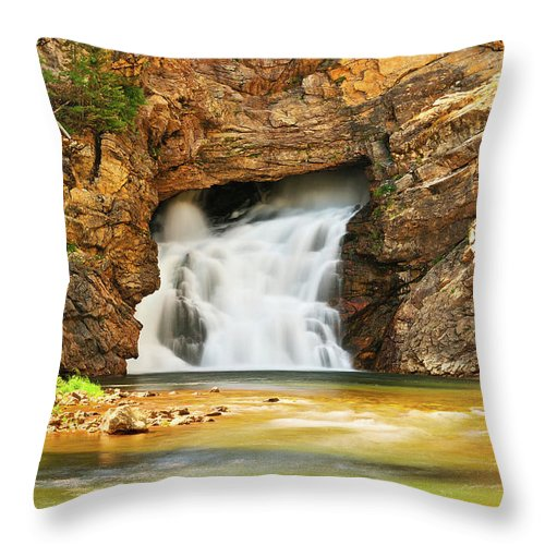 Glacier National Park Throw Pillow featuring the photograph Running Eagle Falls by Greg Norrell