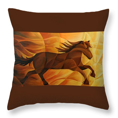 Landscape Throw Pillow featuring the painting Running Flame by Tiffany Budd