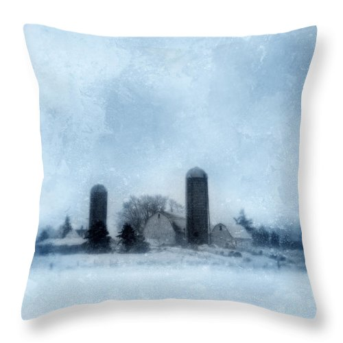 Farm Throw Pillow featuring the photograph Rural Farm In Winter by Jill Battaglia